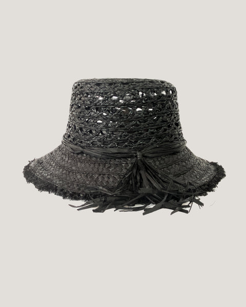 black tassels trim straw fedora hat