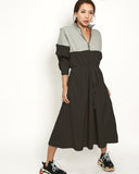 black cotton with beige shirt contrast dress *pre-order*