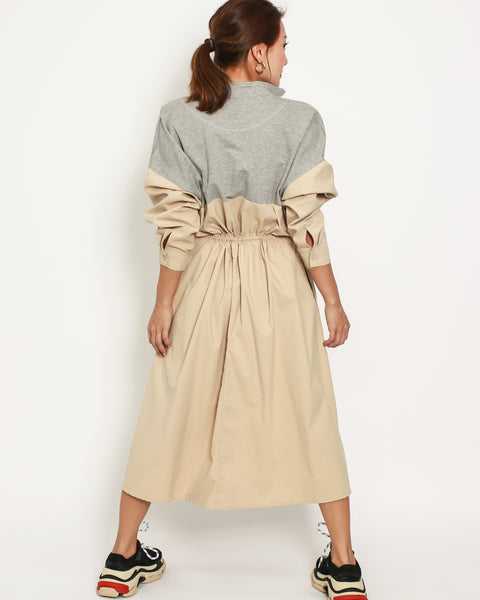 grey cotton with beige shirt contrast dress *pre-order*