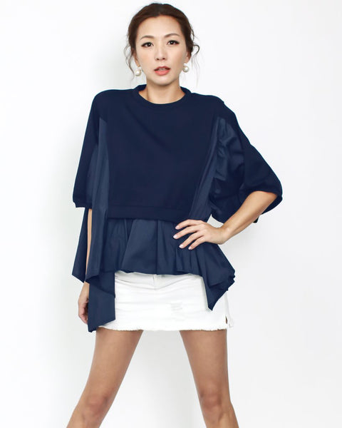 navy tee with shirt contrast asymmetric hem top *pre-order*