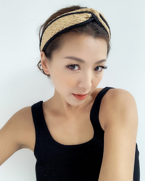 beige straw with black trim twisted headband