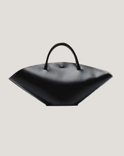 black gyoza leather oversize bag