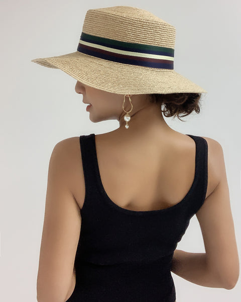 beige straw flat hat with straps ribbon