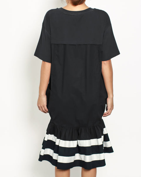 black tee with contrast stripes frill dress *pre-order*