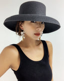 black straw wide hat