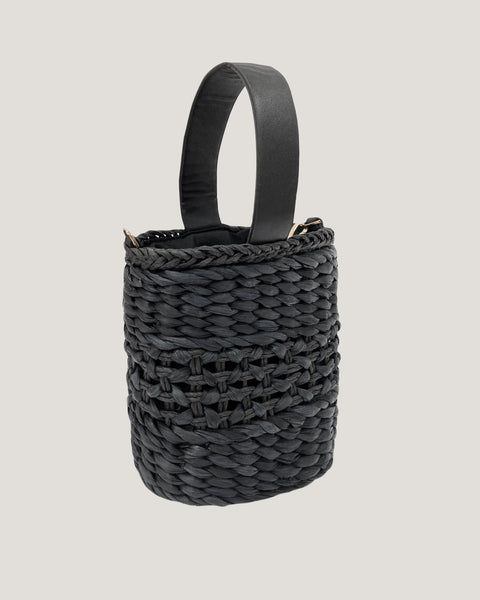 black straw PU leather handle bucket bag *pre-order*