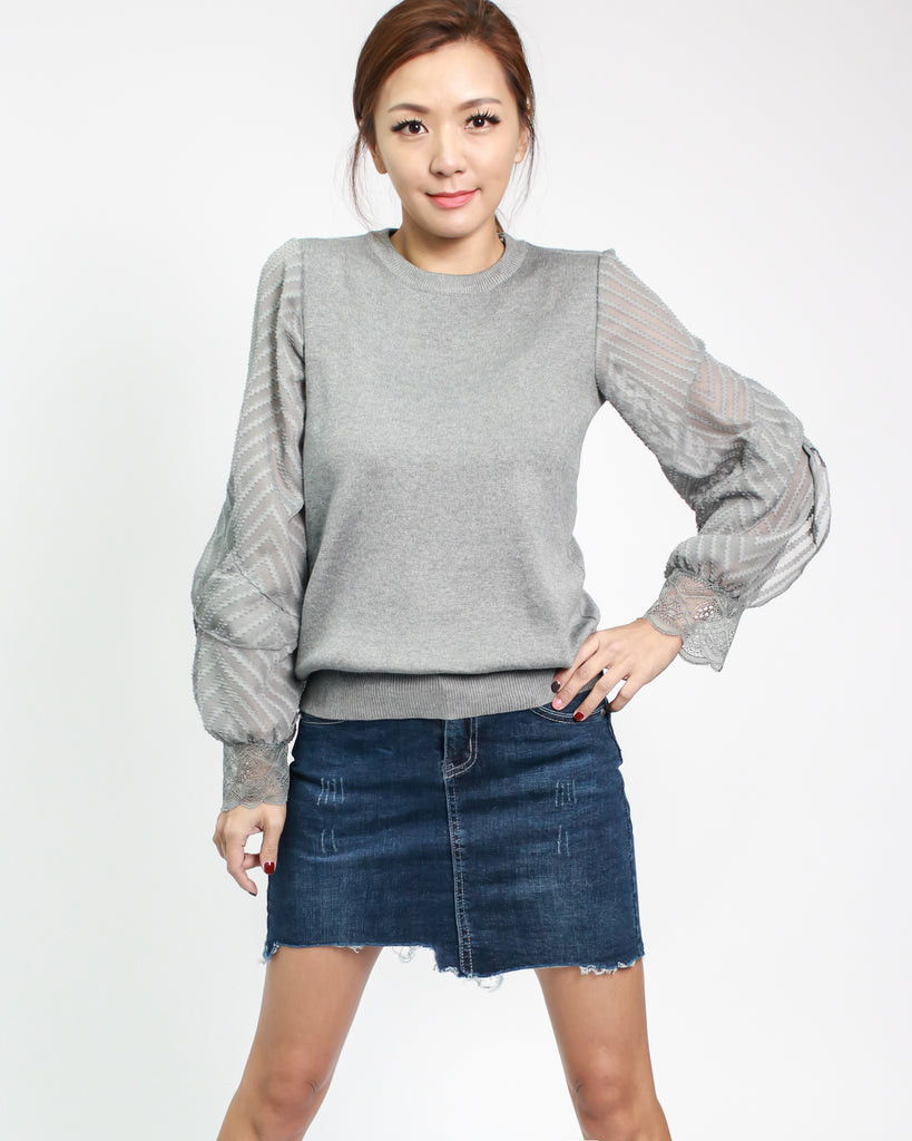 Grey Fine Knitted Top With Chiffon Crochet Sleeves Pre Order