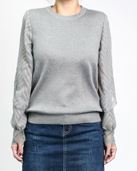 grey fine knitted top with chiffon crochet sleeves *pre-order*