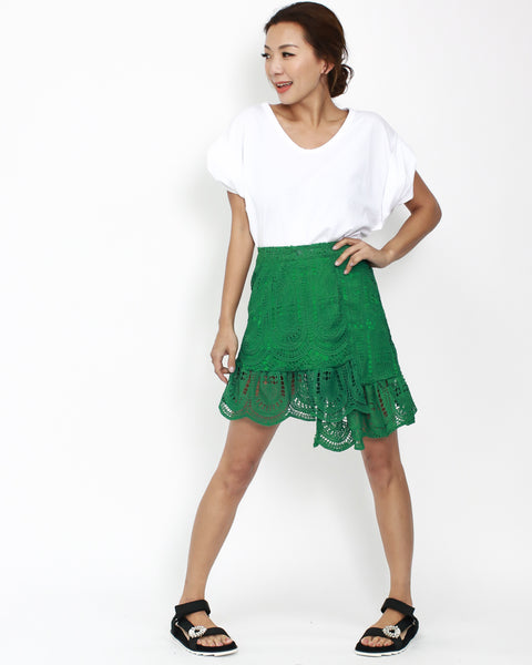 green crochet asymmetric skirt *pre-order*