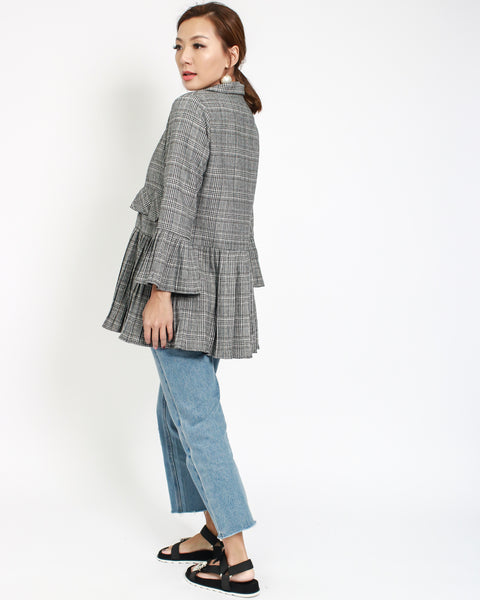 grey wool-blended checker with pleats cuffs & hem jacket *pre-order*