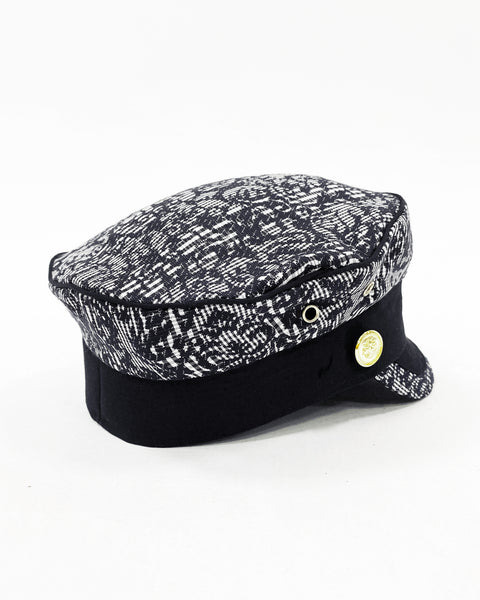 black patterned fabric boy cap hat *pre-order*
