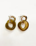 amber pvc with gold round earrings