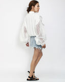 ivory organza stripes sleeves shirt top *pre-order*