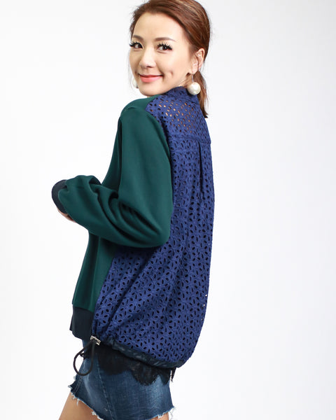 jade sweatshirt with navy crochet & lace back top *pre-order*