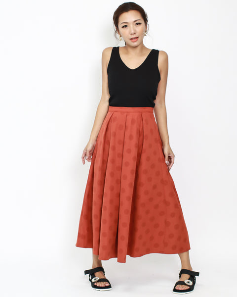 red polka dots longline skirt *pre-order*