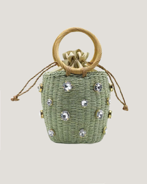 green with diamonds round handals straw bag