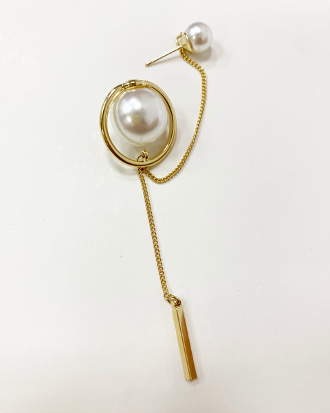 gold metal with drops double pearls earrings *pre-order*