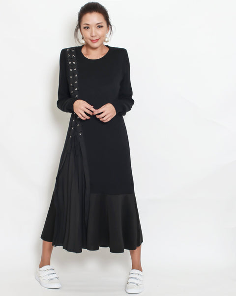 black cotton with pleats dress *pre-order*