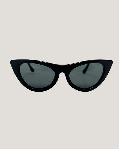 black cat eye with gold trim sunglasses