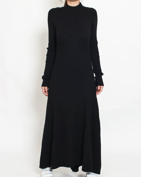 black knitted cutout back with tie-up longline dress *pre-order*
