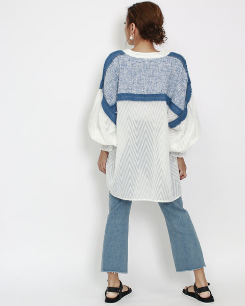 ivory lace with denim and blue tweed contrast oversize sheer shirt *pre-order*