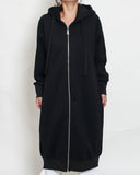 black hooded fleece longline sweat jacket *pre-order*