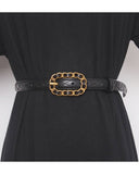 black quilted leather gold buckle belt *pre-order*