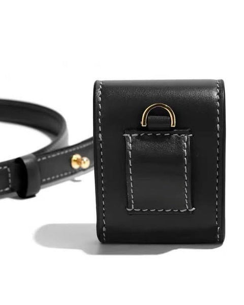 black leather mini belt bag with chain *pre-order*