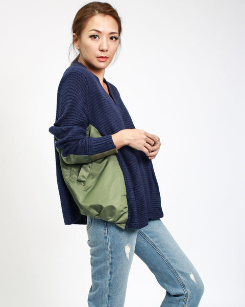 navy knitted top with olive texture contrast top *pre-order*
