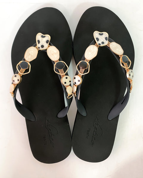 black geo studded flippers *pre-order*