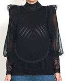 black lace high neck knitted top *pre-order*