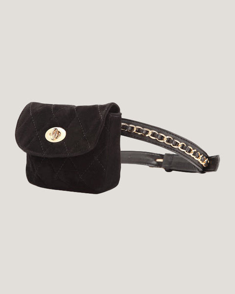 black suede quilted chain belt bag *pre-order*