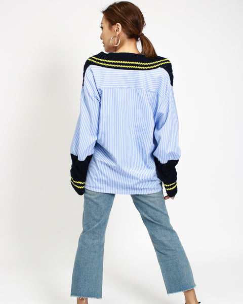 navy knitted with blue stripes shirt contrast top *pre-order*