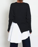 black knitted top with asymmetric white shirt hem *pre-order*