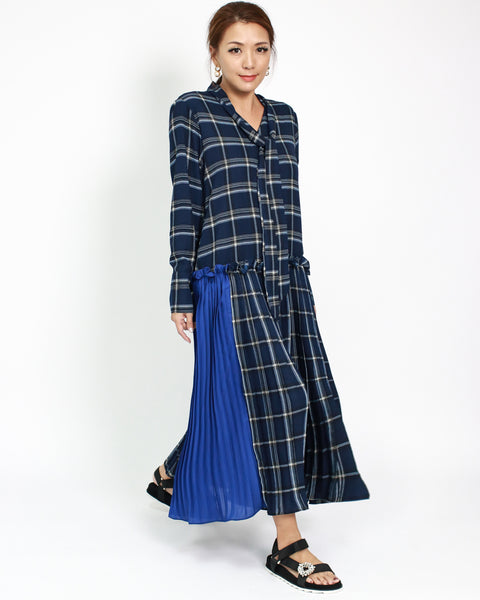 navy checkers & blue pleats chiffon dress *pre-order*