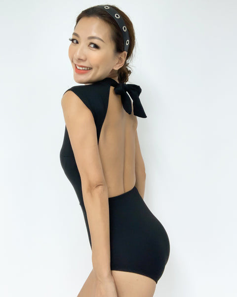 black high neck with cutout back one piece swimwear *pre-order*