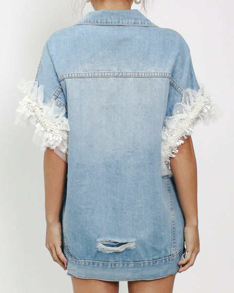 denim with mesh & pearls beads sleeves jacket *pre-order*