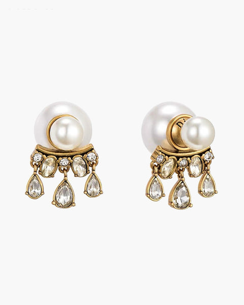 gold & pearls diamonds studded earrings *pre-order*