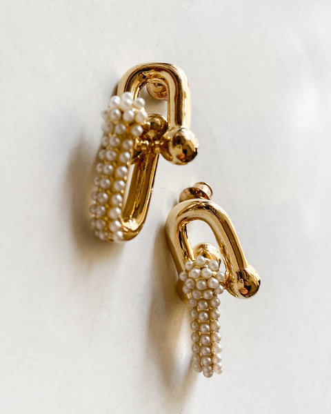 gold links pearls earrings *pre-order*