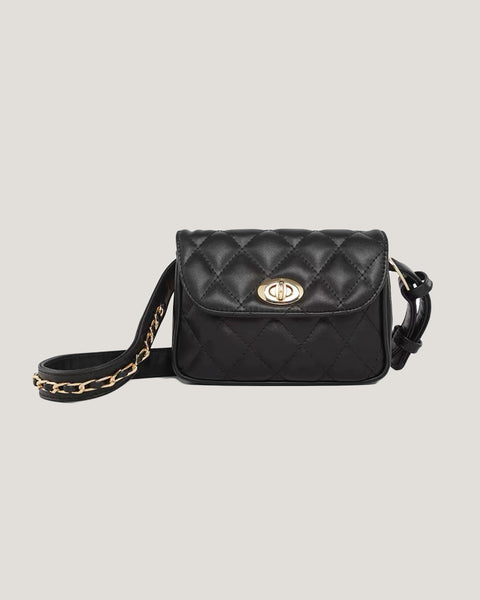 black PU leather quilted chain belt bag *pre-order*