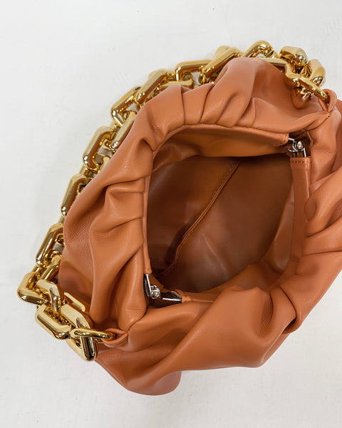 peach leather pouch bag with gold chain *pre-order*