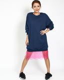 navy sweatshirt dress with pink lace hem *pre-order*