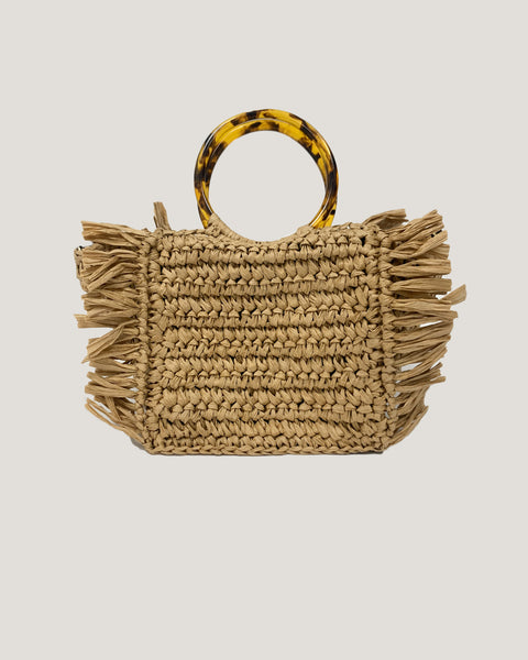 beige straw bag with turquoise handles