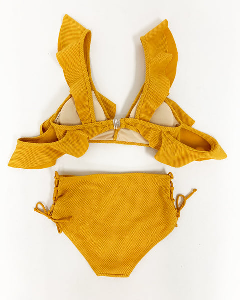 mango ruffles with lace up sides mid waist bottom texture swimwear *pre-order*