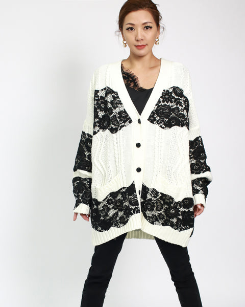 ivory knitted & black lace stripes cardigan *pre-order*