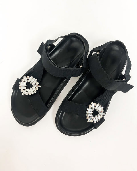 black strappy diamond sandals *pre-order*