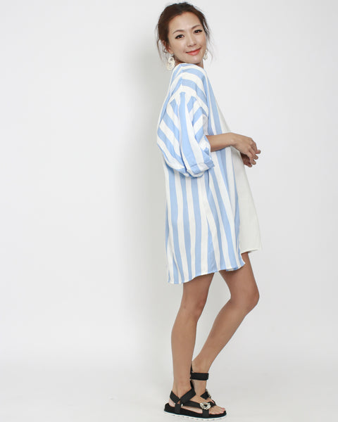 blue stripe with ivory contrast puff sleeves dress *pre-order*