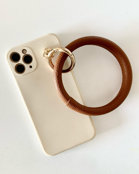 ivory silicone & PU leather loop phone case *pre-order*