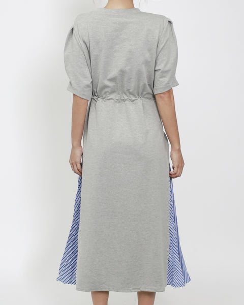 grey puff sleeves tee dress with blue stripes pleats sides *pre-order*