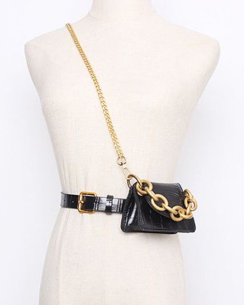black PU croc leather waist / crossbody chain bag *pre-order*